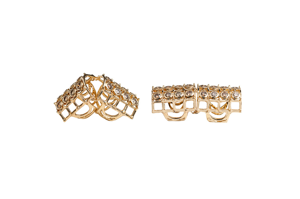 Articulated cage and studs studs ring with cognac diamonds