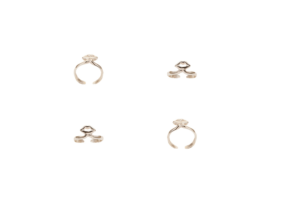 Silver midi ring with mouth - small / Silver midi ring with mouth - large