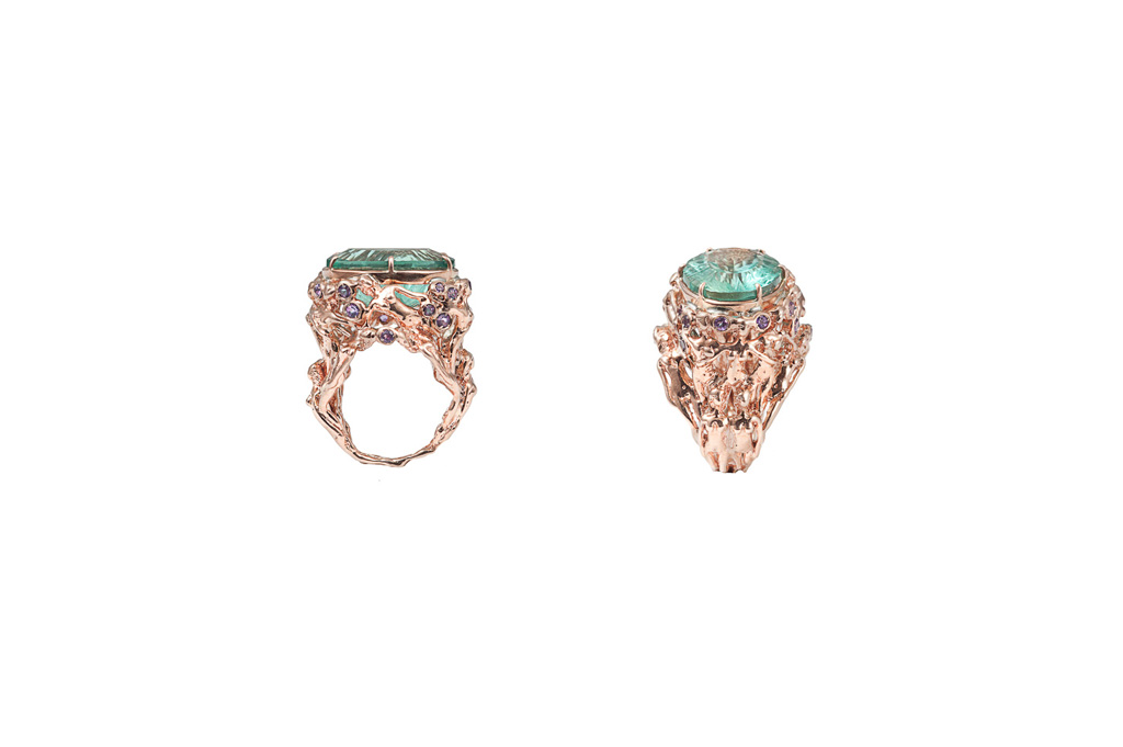 Pink gold women ring with fluorite