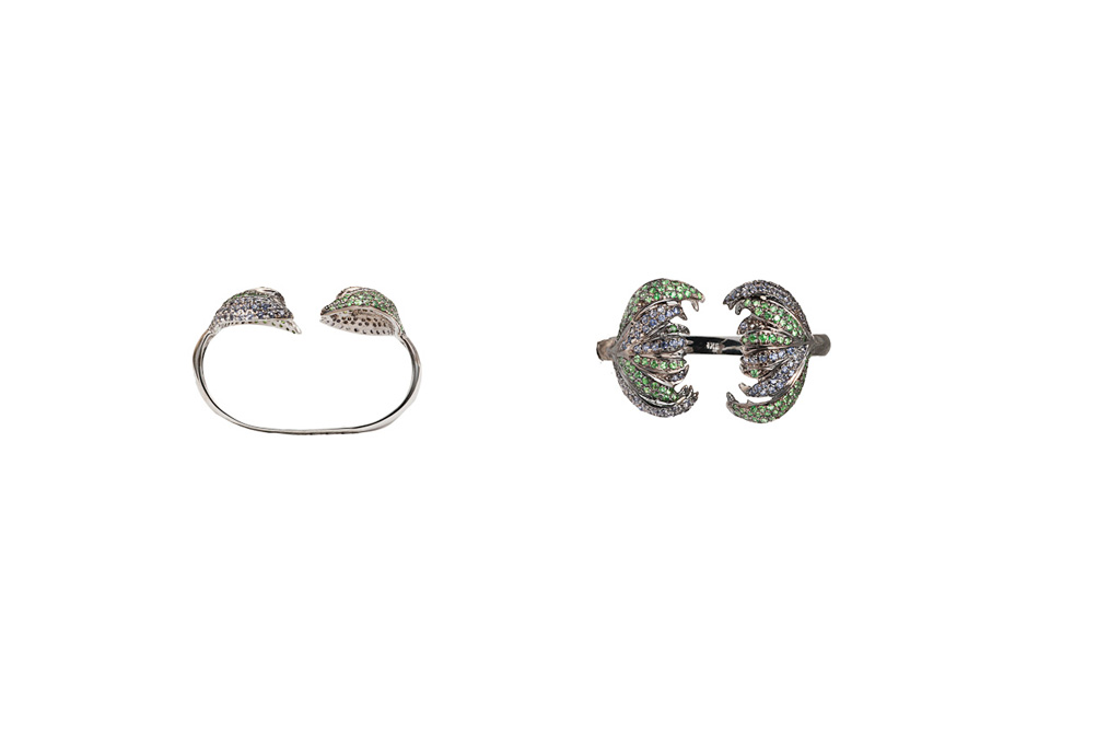 Carnivorous flower pavé ring with iolite and tsavorites