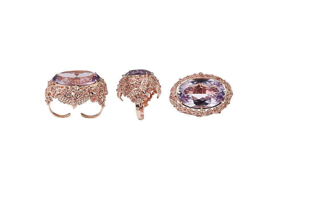 Bat and flowers pink gold ring with amethyst