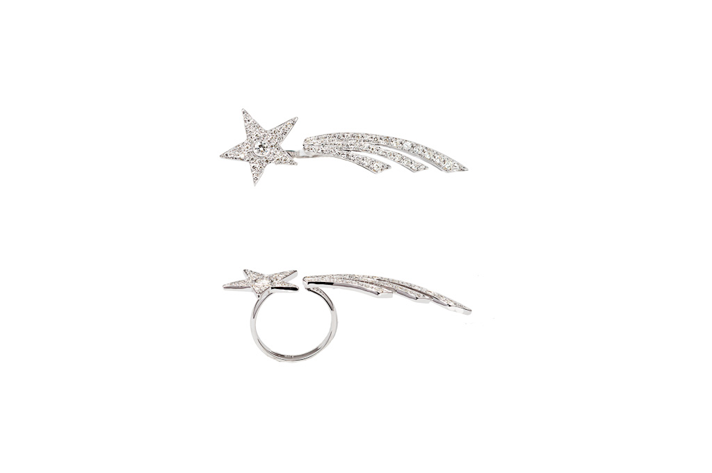 2 fingers shooting star ring with diamonds