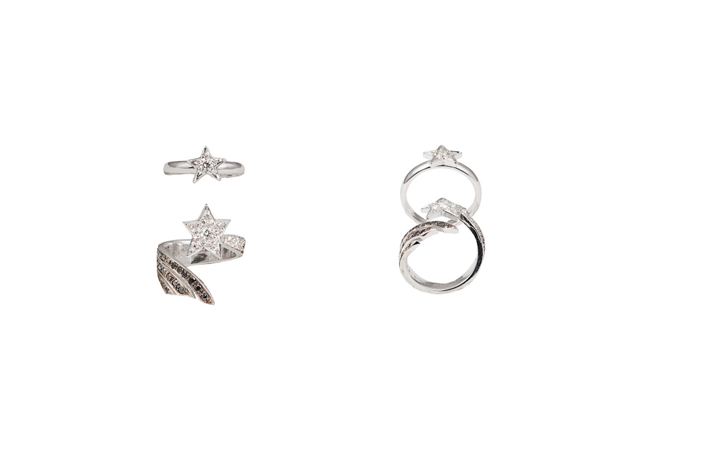 Shooting star midi ring with white, grey and black diamonds / Little star gold midi ring with diamond