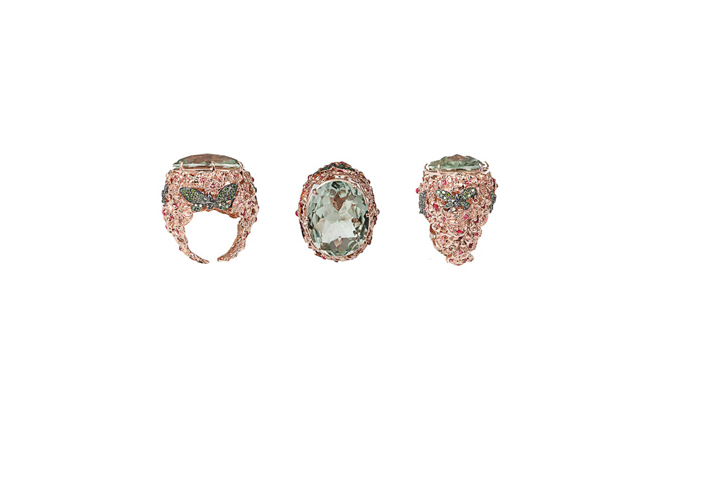 Butterflies and flowers pink gold ring with prasiolite