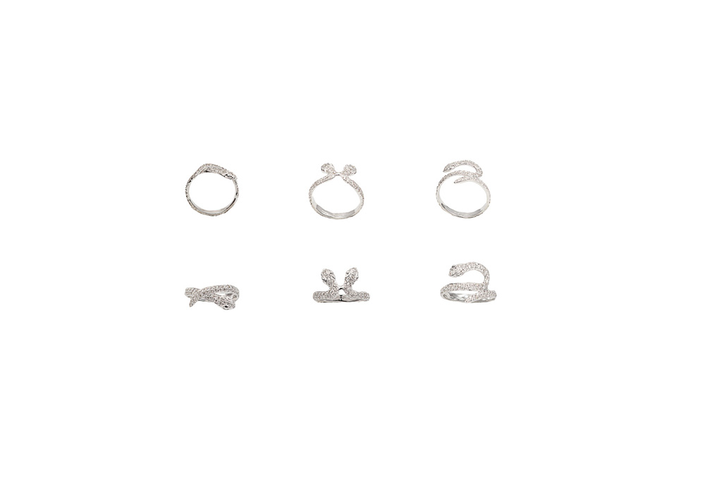 White gold snakes ring with diamonds - style 1- style 2 - style 3