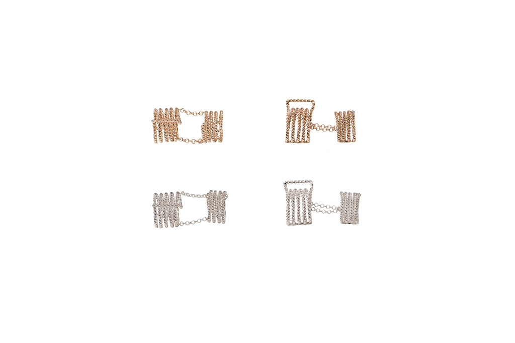 Articulated 7 bands bronze ring / Articulated 7 bands silver ring