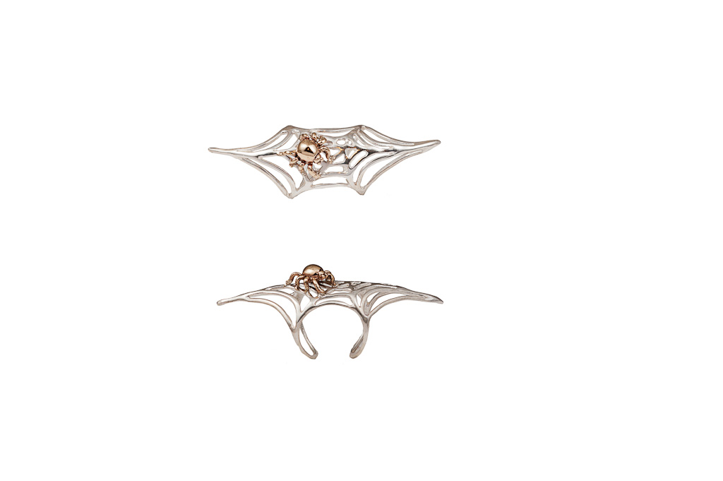 Silver long web ring with bronze spider