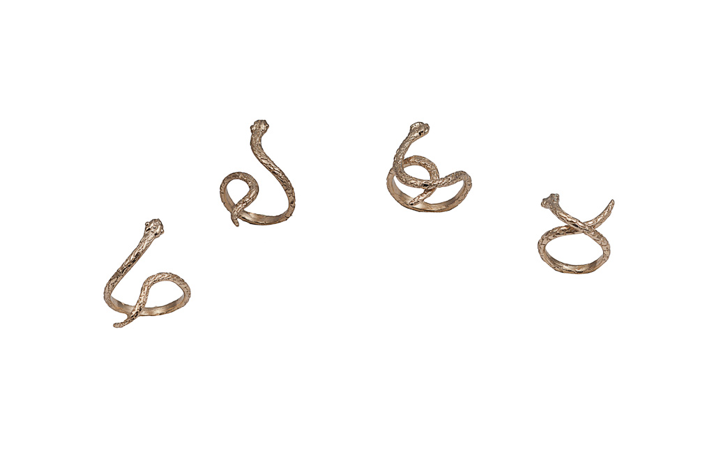 set of 4 bronze snake rings