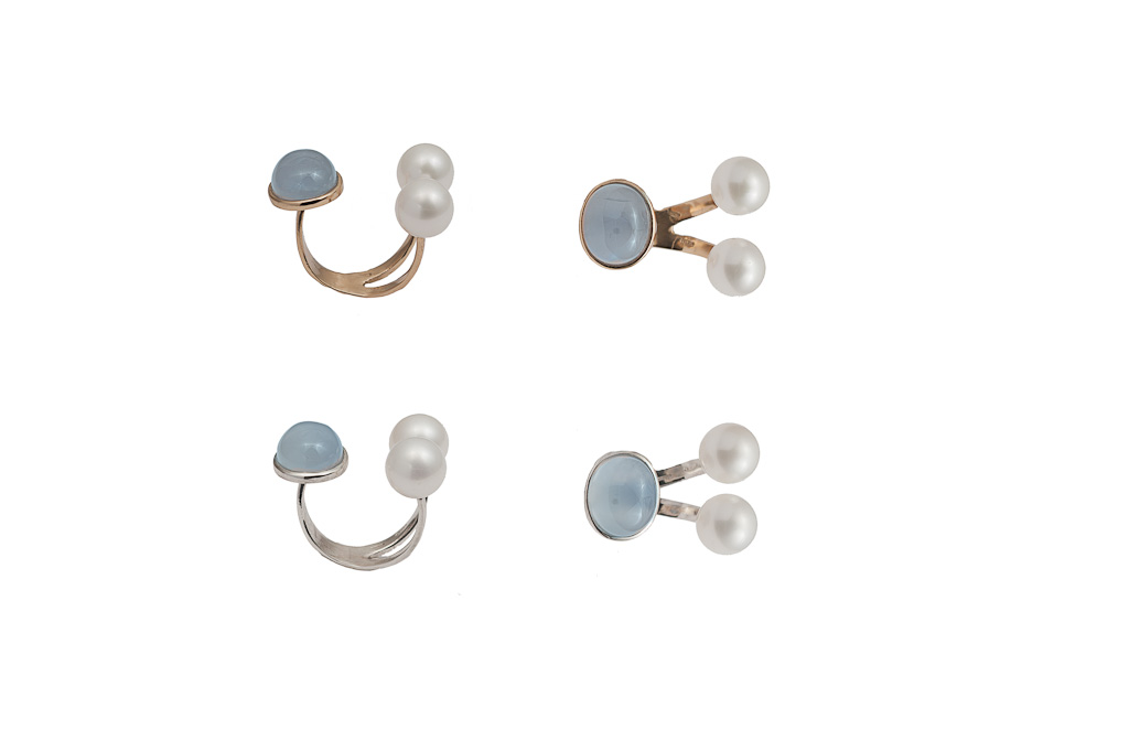 Bronze ring with chalcedony and pearls / Silver ring with chalcedony and pearls