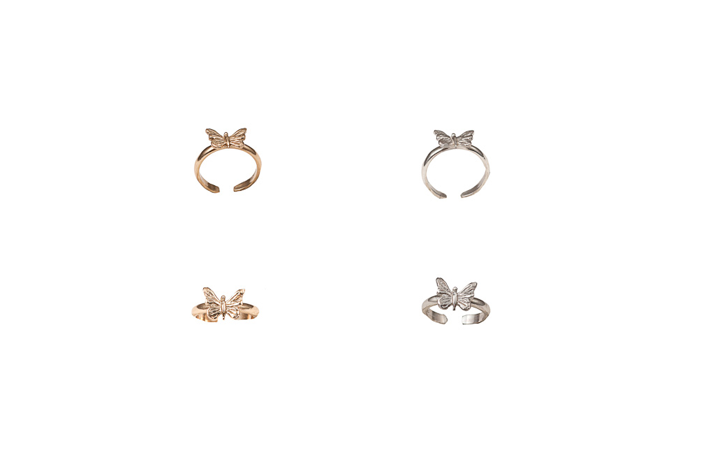 Bronze midi ring with butterfly