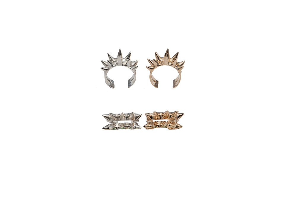 Triple band bronze ring with spikes / Triple band silver ring with spikes