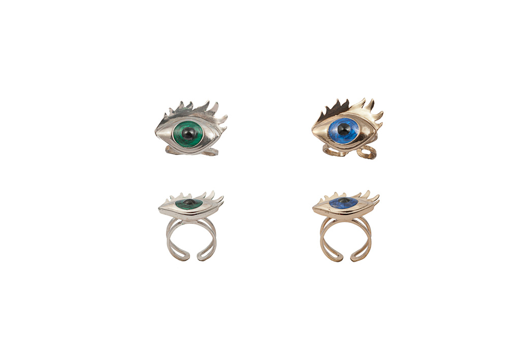 Bronze ring with blue enamelled eye / Silver ring with green enamelled eye