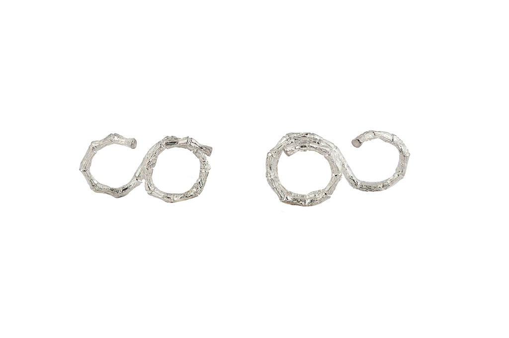 Silver 2 fingers bamboo ring - 2 laps / Silver 2 fingers bamboo ring - 3 laps
