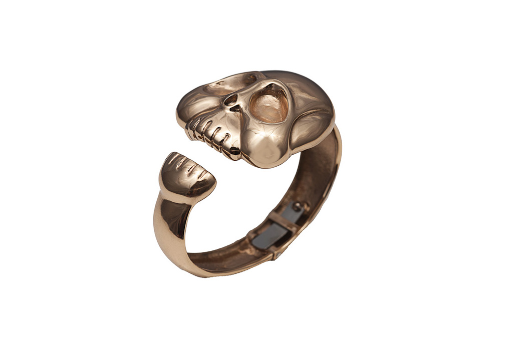Bronze big smooth skull cuff bracelet