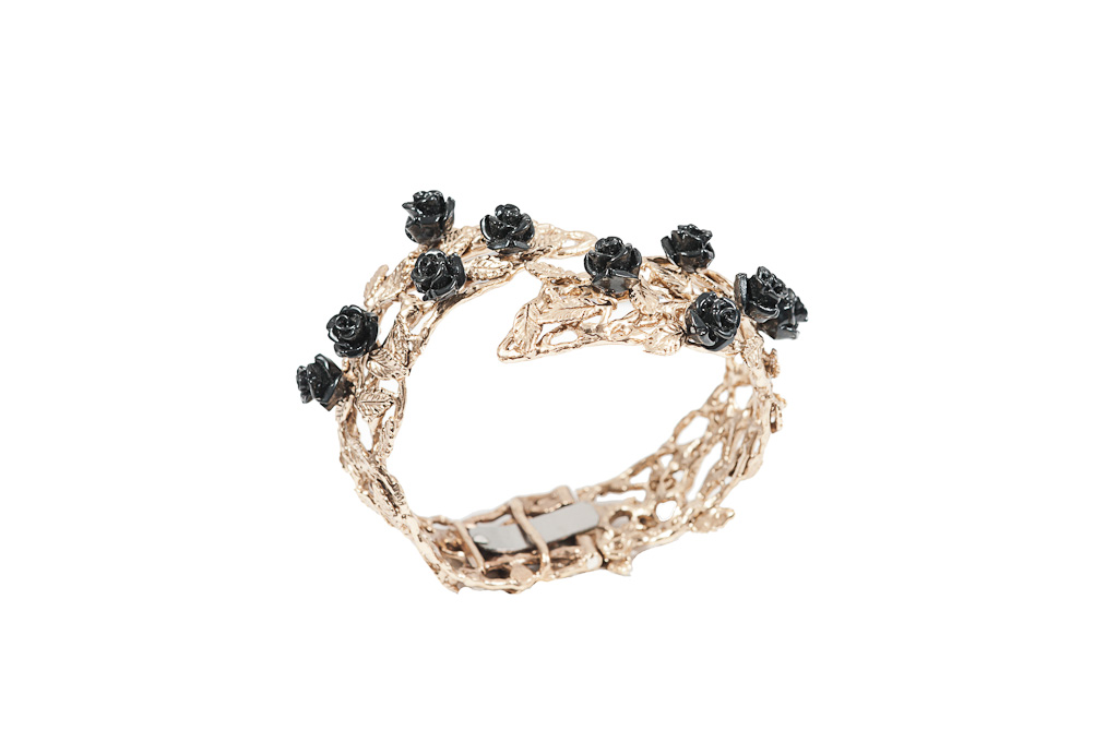 Bronze leafy cuff bracelet with black resin roses