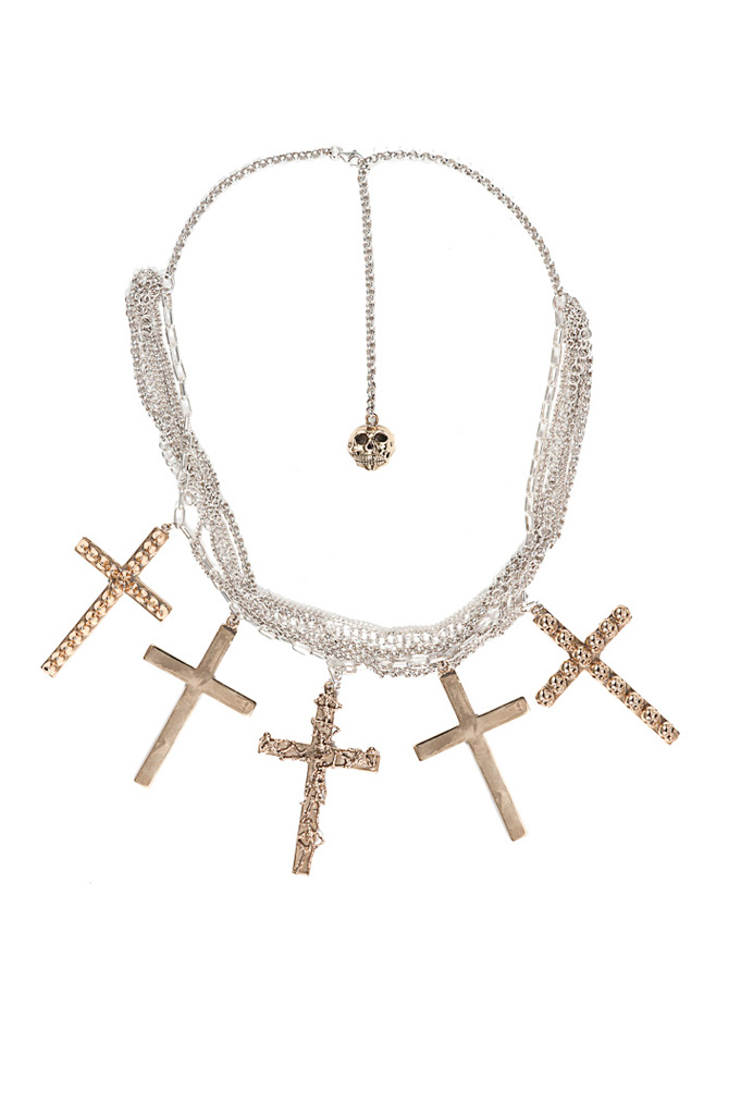 Silver chains necklace with bronze crosses