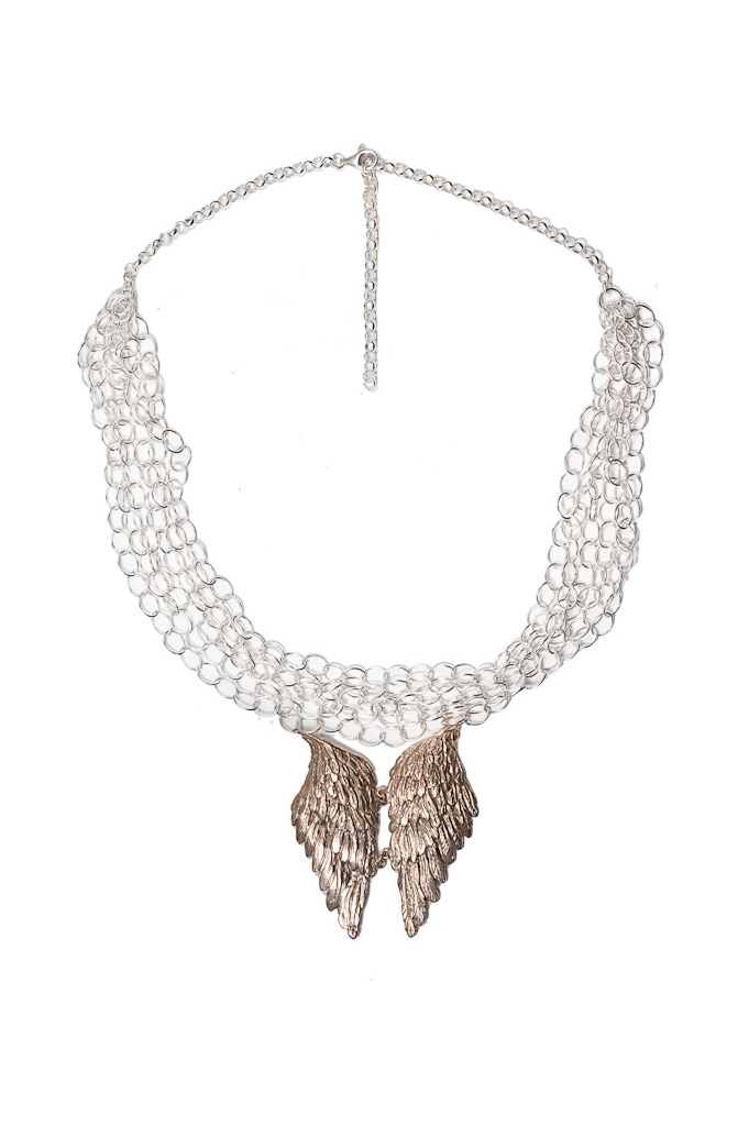 Silver chains with bronze wings