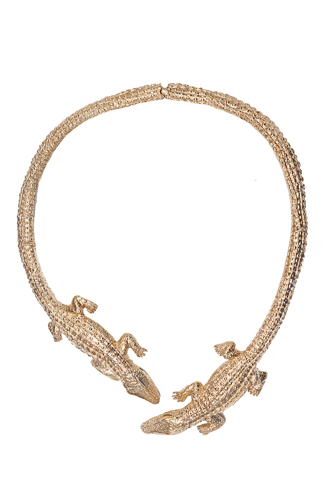 2 crocodiles brass necklace