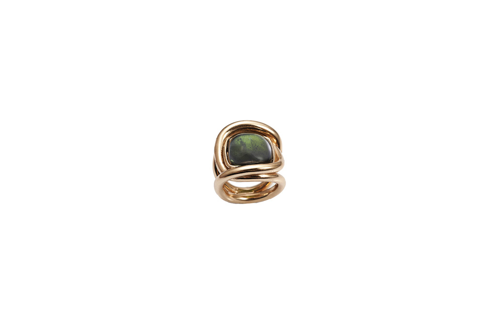 Bronze knot ring with tourmaline - man