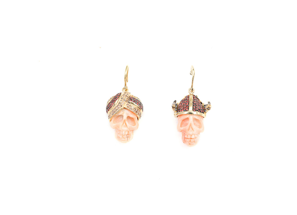 Coral turban and  helmet skulls earrings STILL ALIVE