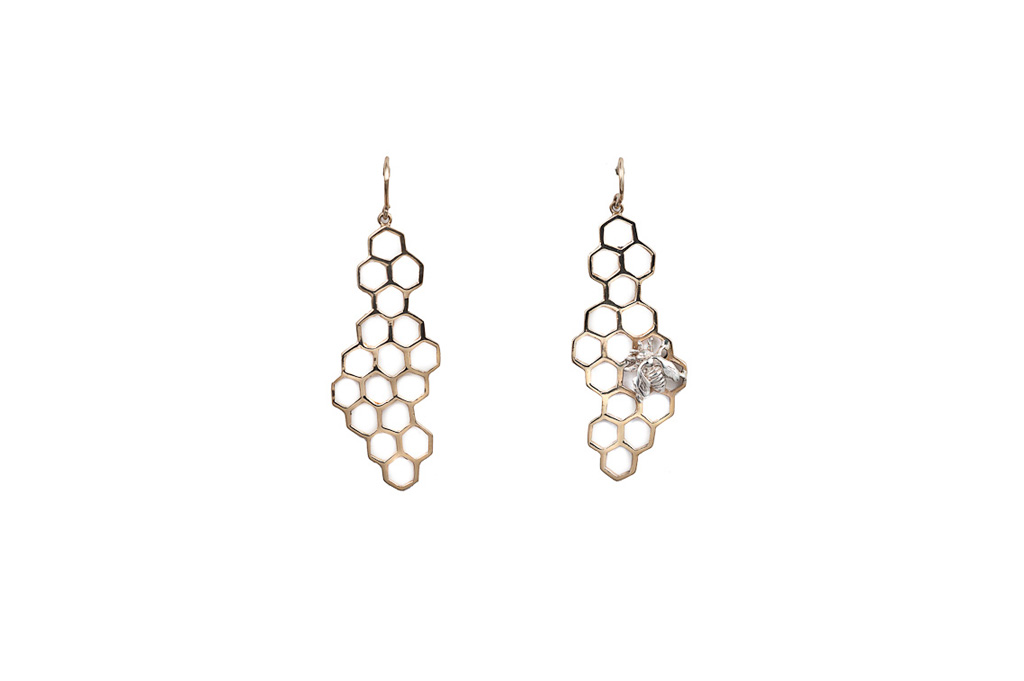 Bronze honey comb with silver bee earrings
