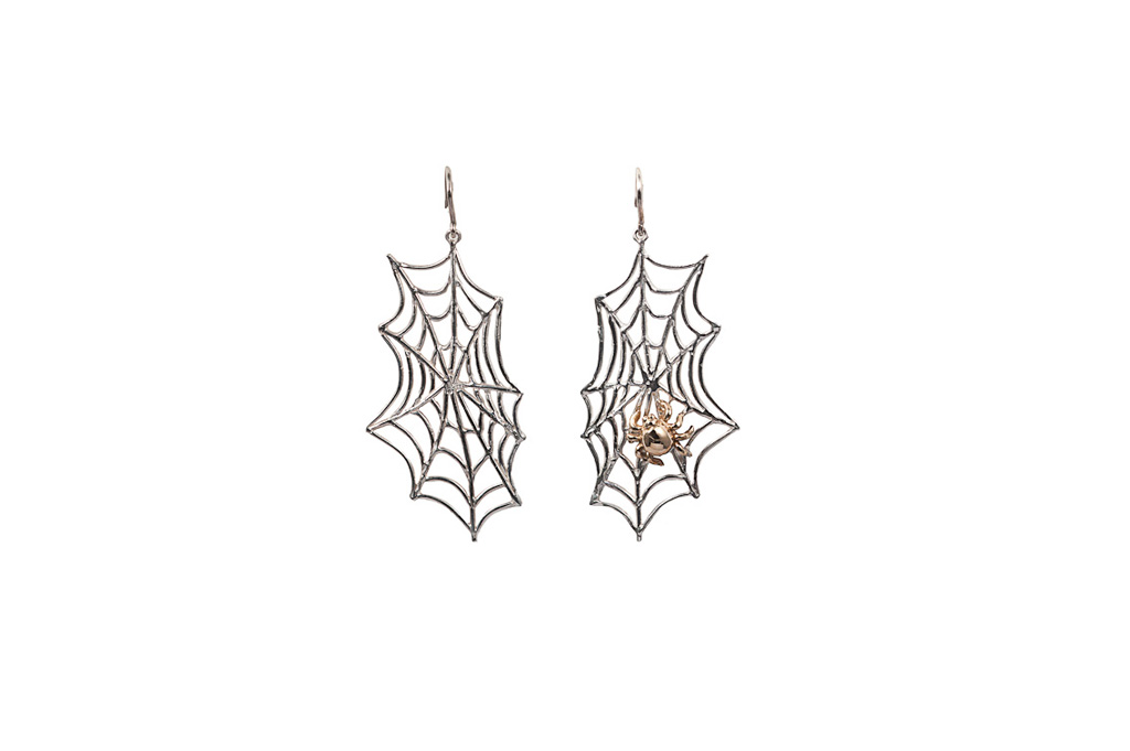 Silver web with bronze spider earrings
