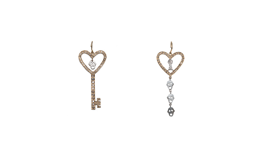 Key and heart with skulls earrings