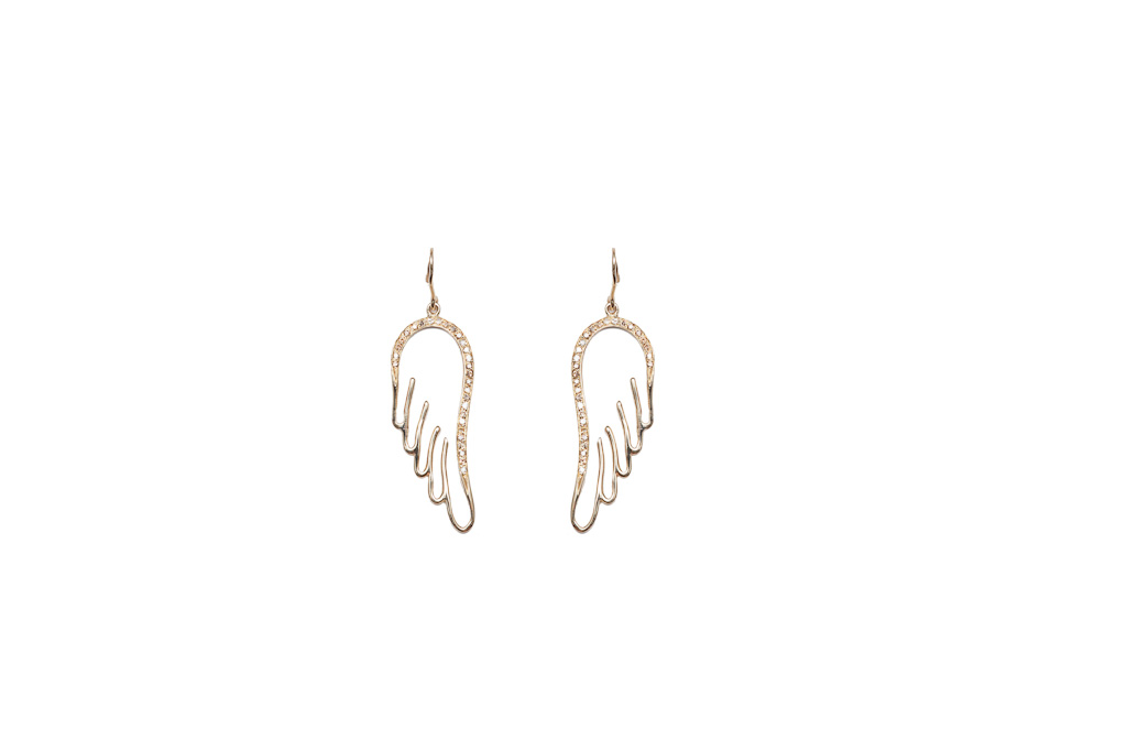 Wings earrings with cognac diamonds