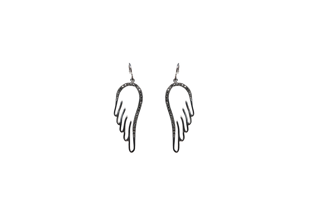 Wings earrings with black diamonds