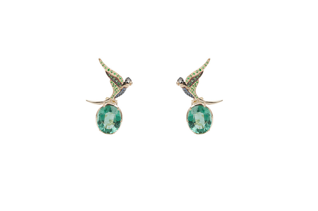 Parrots gold pavé earrings with fluorite