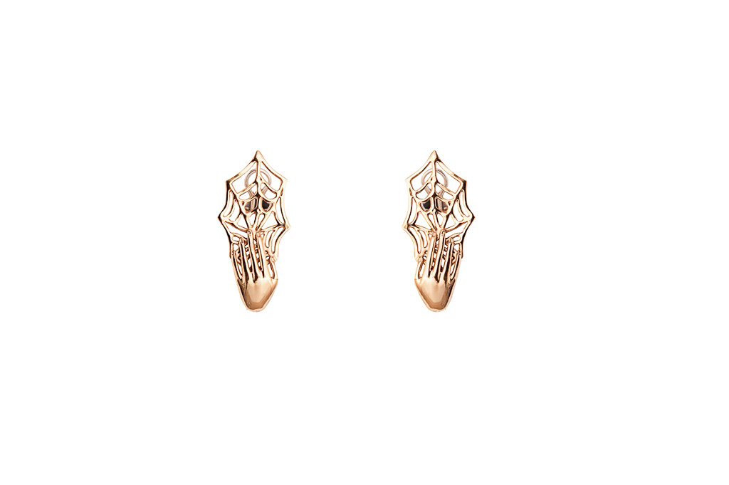 Bronze earrings with web and hand