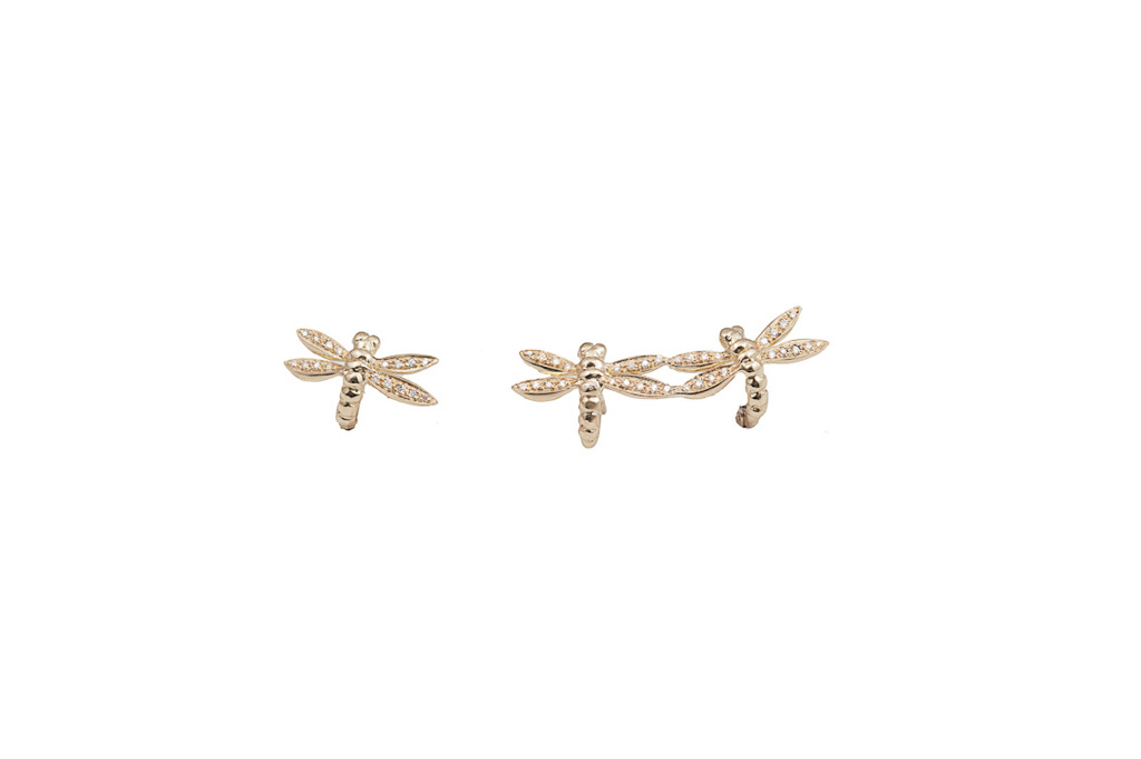 Earrings with pavé diamonds dragonflies 2 + 1