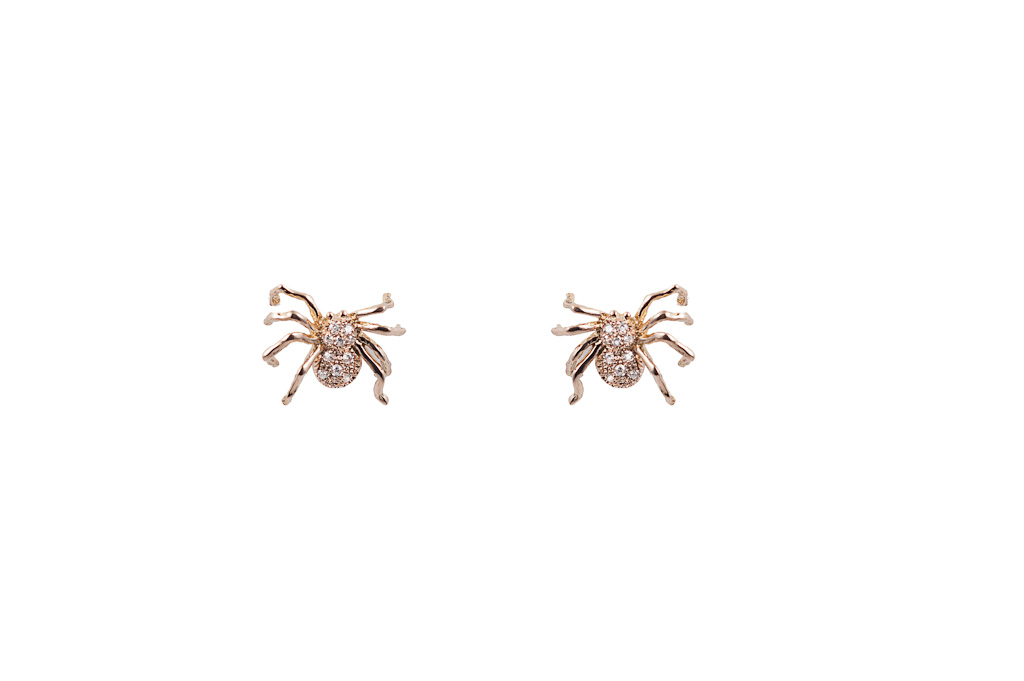 Pink gold spider earrings with diamonds