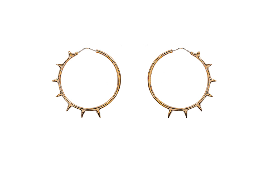 Bronze hoop earrings with spikes