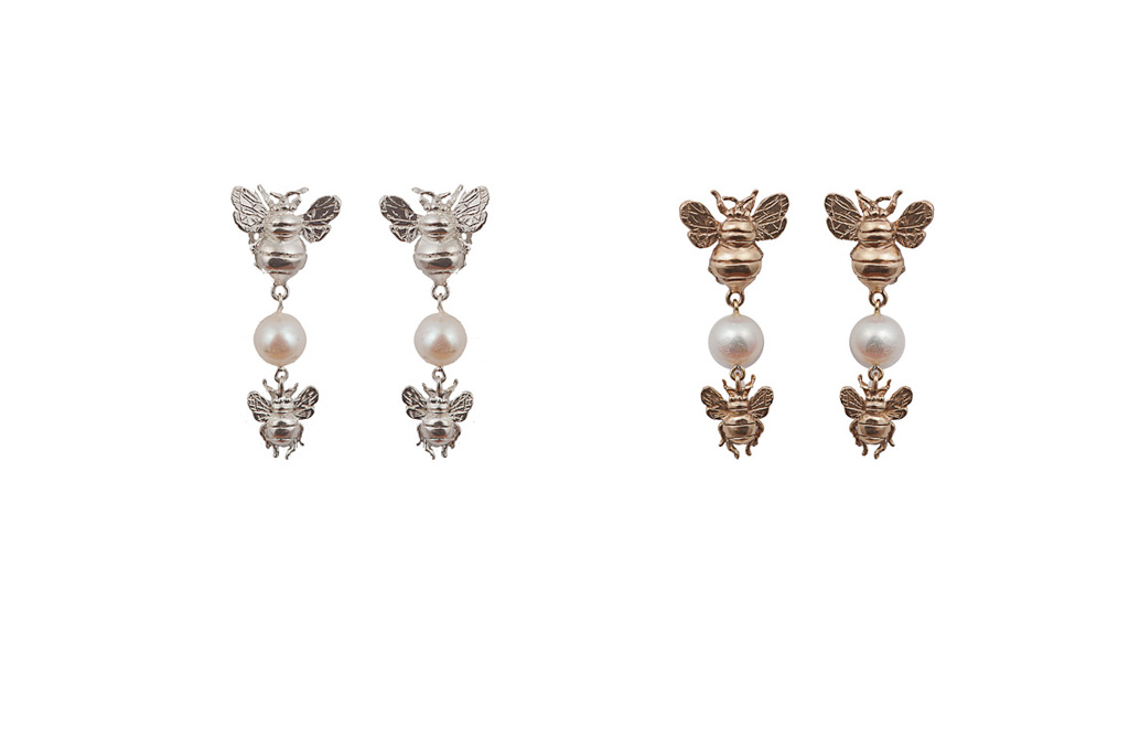 Bronze earrings with 2 bees and pearl / Silver earrings with 2 bees and pearl