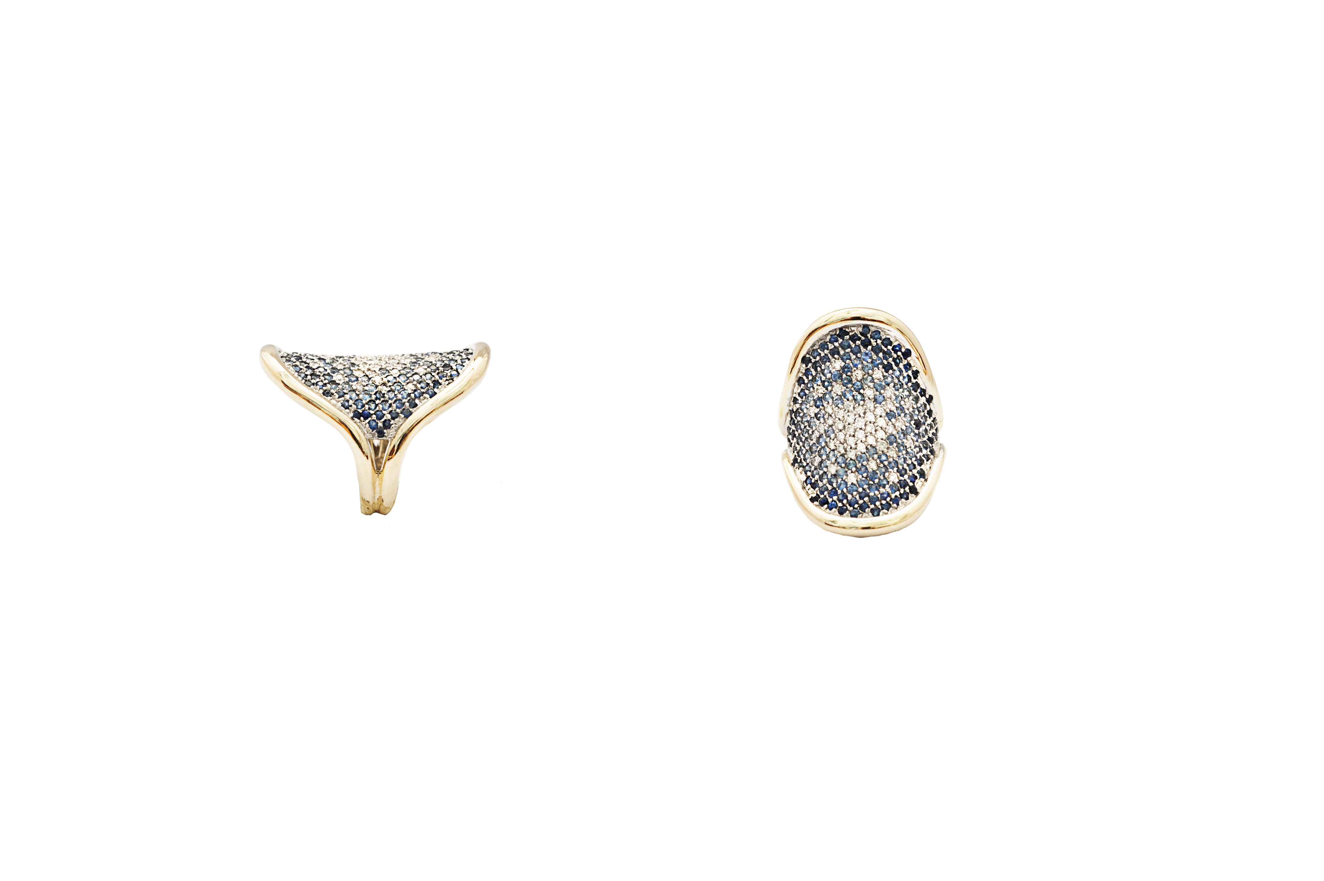 Geometric gold ring with degradé pavé diamonds and sapphires