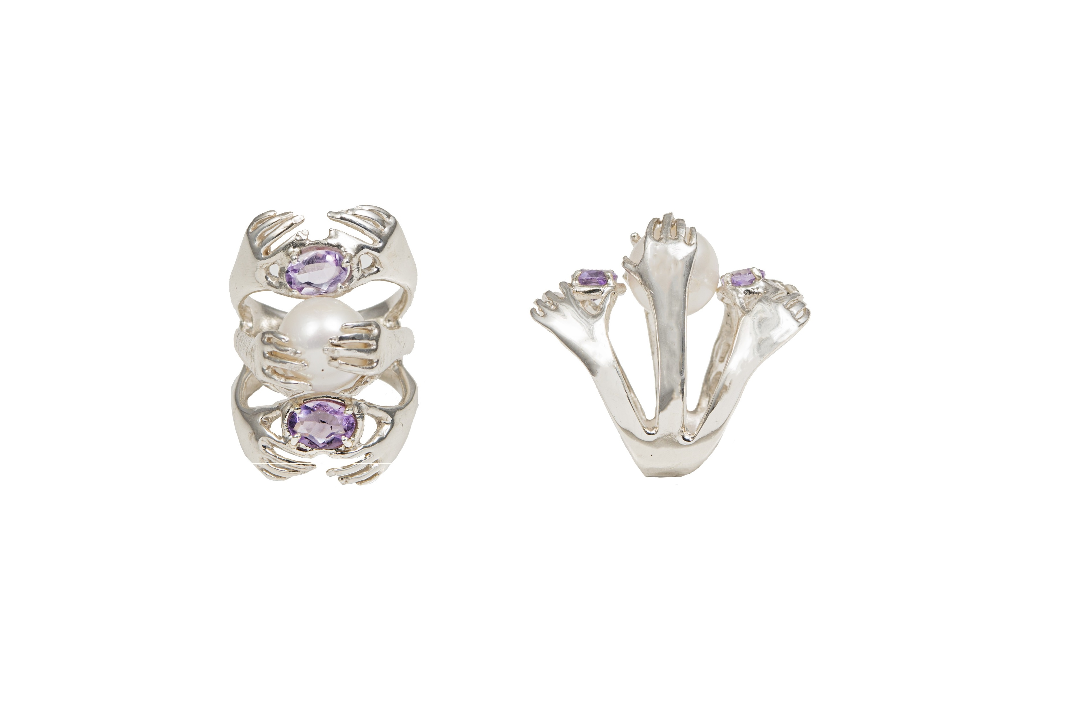 6 hands silver ring with amethysts and pearls