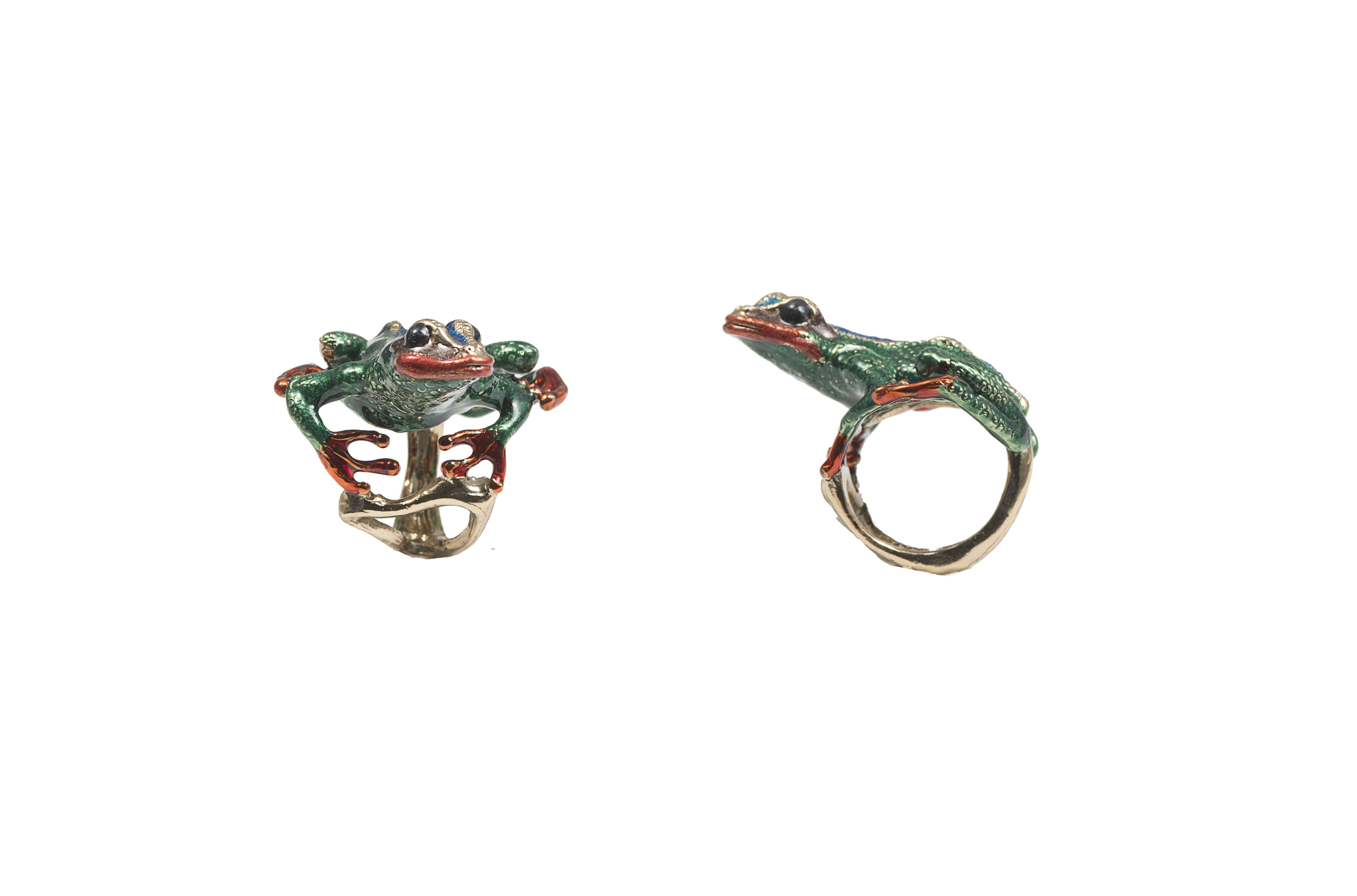 Long froggy bronze ring with enamel
