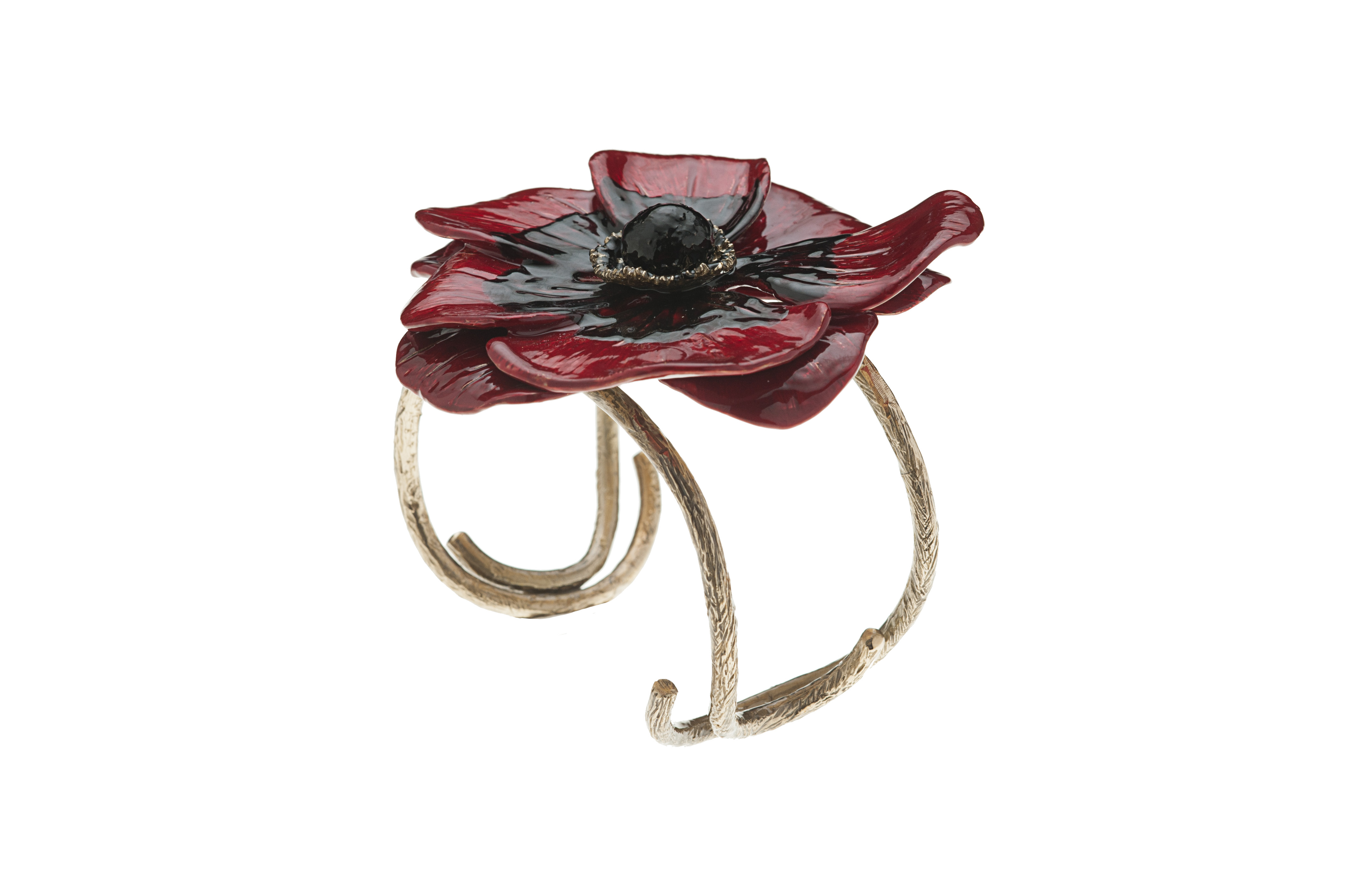 Bronze cuff bracelet with enamelled anemone