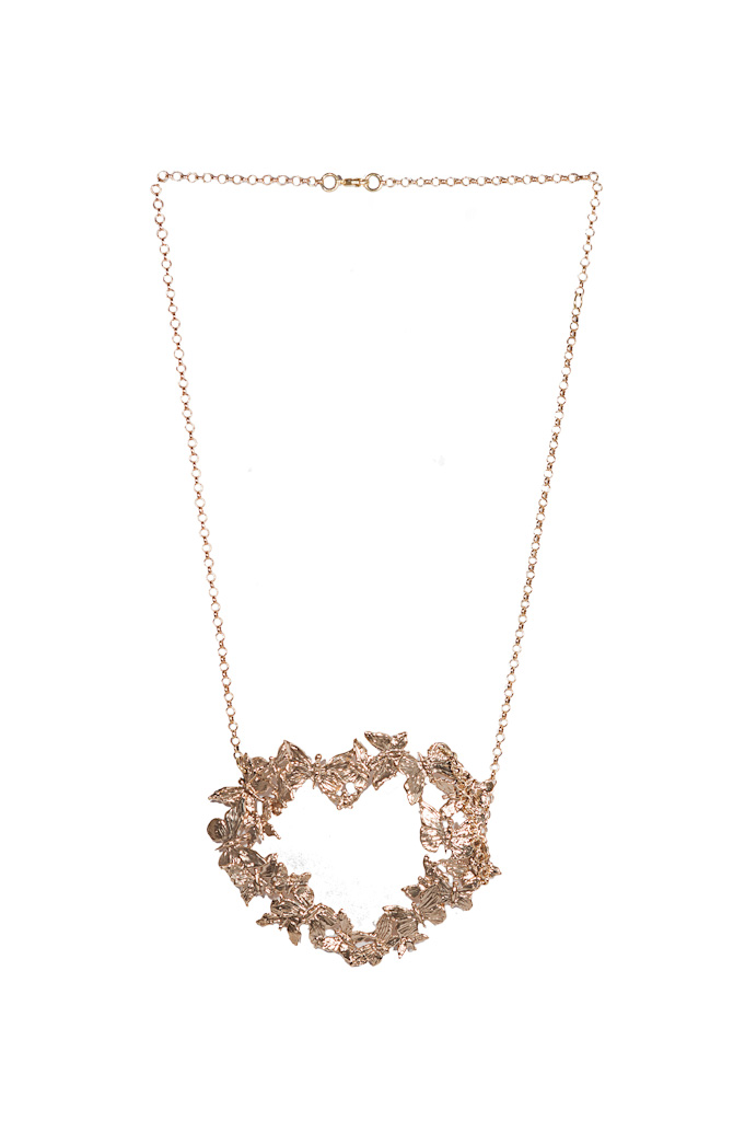 Bronze heart necklace with butterflies