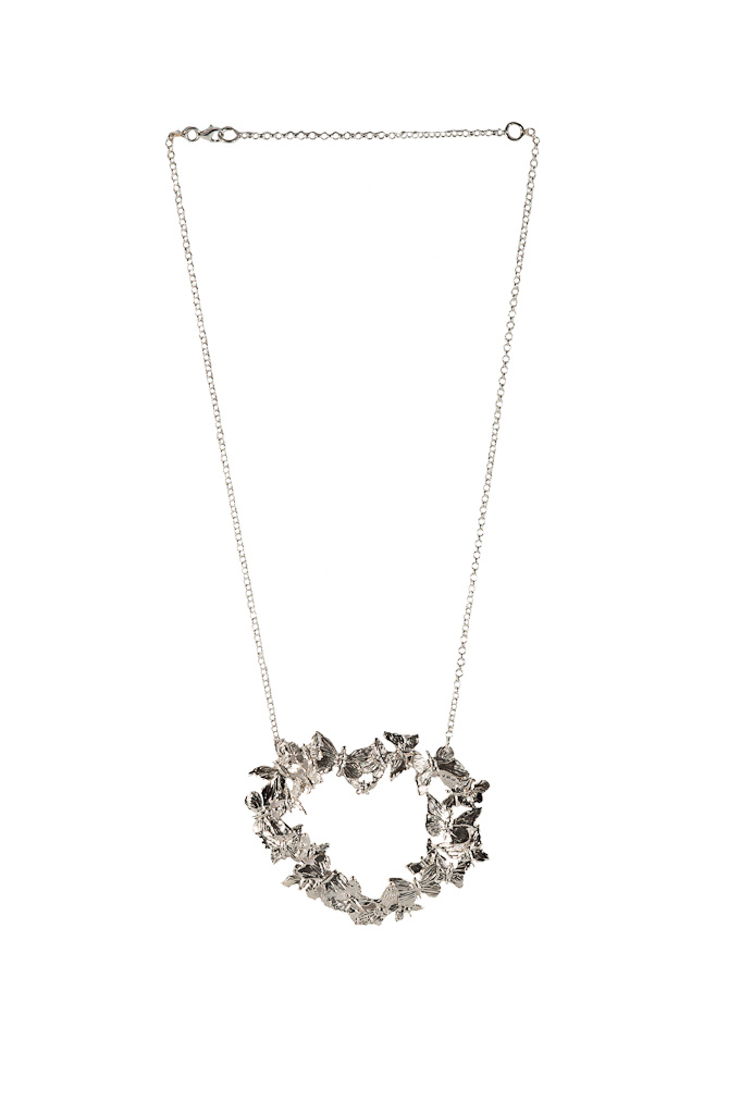 Silver heart necklace with butterflies