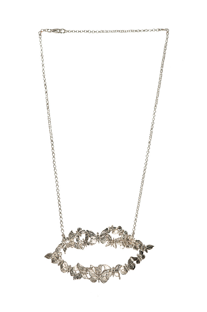 Silver mouth necklace with butterflies