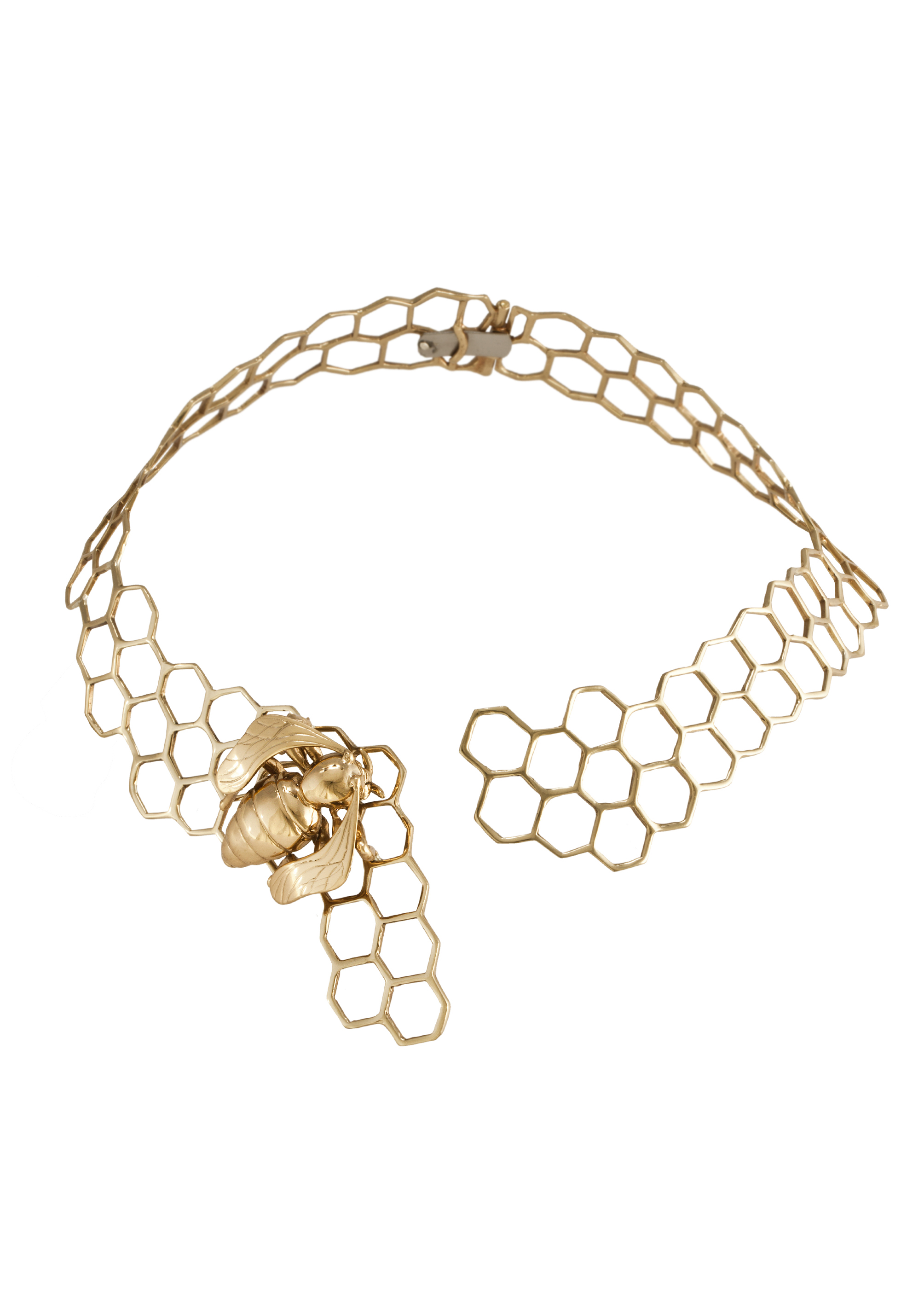 Brass honeycomb necklaces with bee