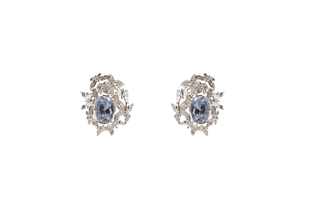Multi butterflies silver earrings with pale blue zircon