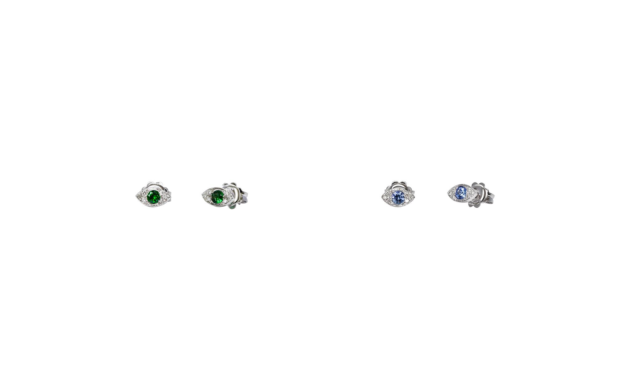 Gold mini eyes earrings with diamonds and tanzanite