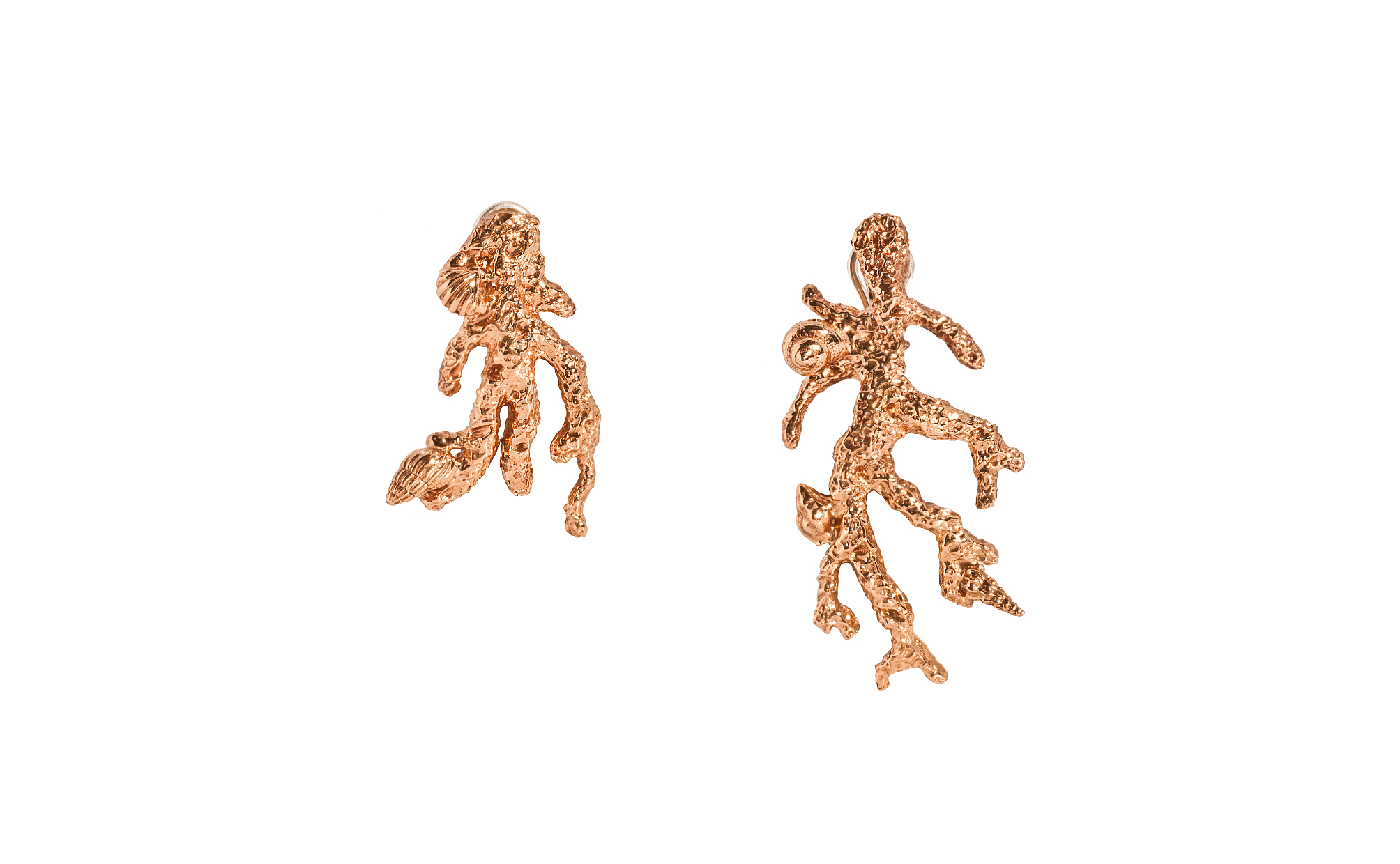 Pink bronze coral shaped earrings