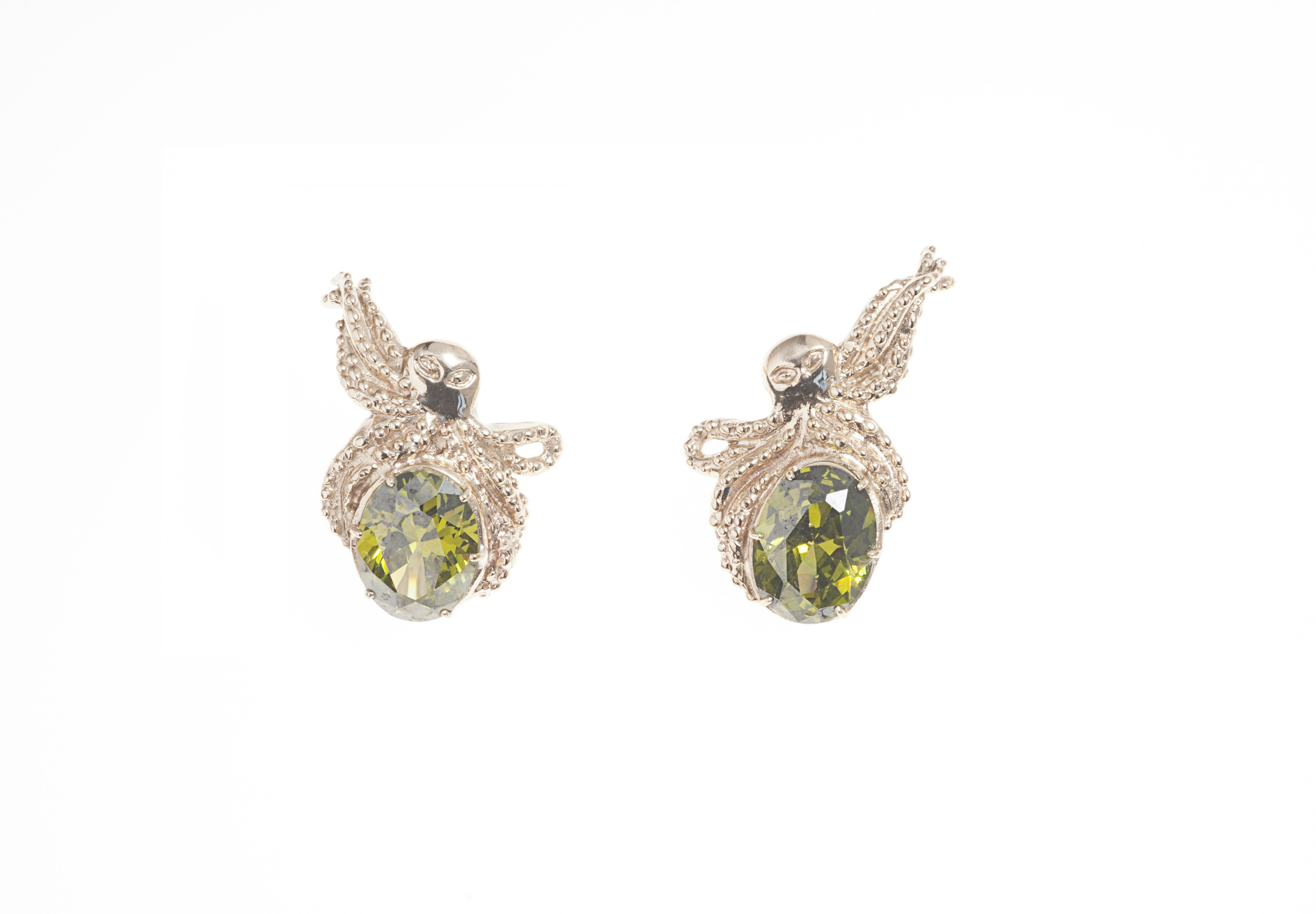 Bronze octopus earrings with green zircon