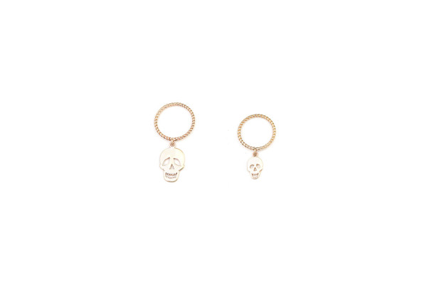 Band gold ring with big hanging skull / Band gold ring with small hanging skull