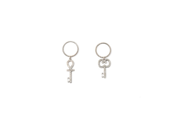 Band ring with diamonds pavé Ankh key / Band ring with diamonds pavé curly key