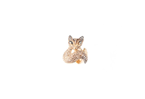 Fox ring with cognac diamonds